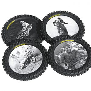Santos Cycles Smooth Industries Dunlop Legends Series Knobby Tire Drink Coasters